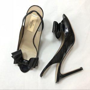 Valentino Patent Peep Toe Bow Slingback Pumps